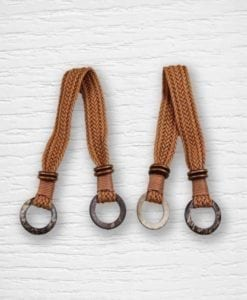 Anses de sac simili cuir tressées marron Lidia Crochet Tricot