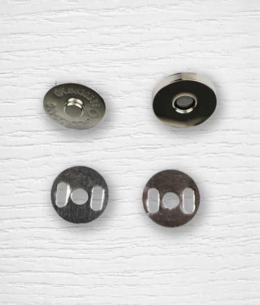 Fermoir bouton aimant sac à attacher argentée 19 mm
