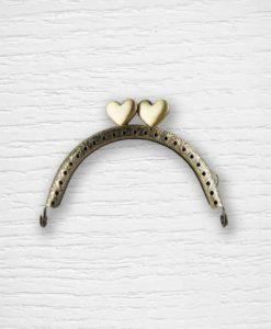 Fermoir cadre porte monnaies 8 cm arrondie coeurs bronze Lidia Crochet Tricot