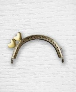 Fermoir cadre porte-monnaies bronze coeurs coté Lidia Crochet Tricot