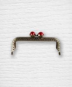 Fermoir cadre porte-monnaies bronze perles rouges Lidia Crochet Tricot