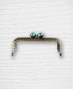 Fermoir cadre porte-monnaies bronze perles turquoises Lidia Crochet Tricot