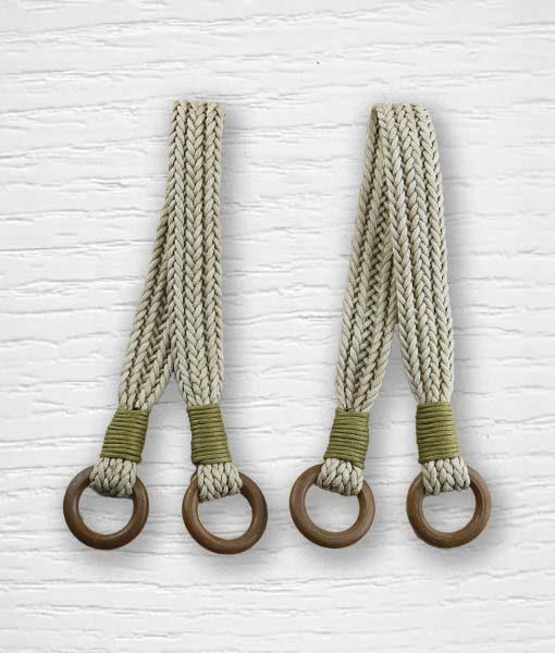 Anses de sac simili cuir tressées crème Lidia Crochet Tricot