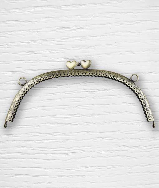 Fermoir cadre porte monnaies 21 cm coeurs arrondie bronze Lidia Crochet Tricot