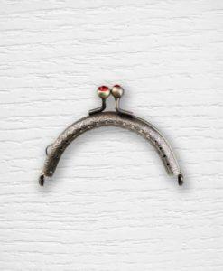 Fermoir cadre porte monnaies 8.5 cm bronze brillants rouge Lidia Crochet Tricot