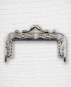 Coin purse metal frame clasp 9.5 cm fancy square bronze Lidia Crochet Tricot