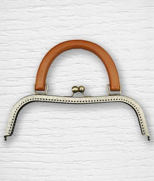 Fermoir cadre porte monnaies poignées bois 2 type sac Lidia Crochet Tricot