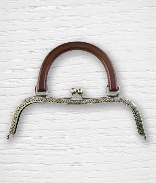 Fermoir cadre porte monnaies poignées bois marron type sac Lidia Crochet Tricot