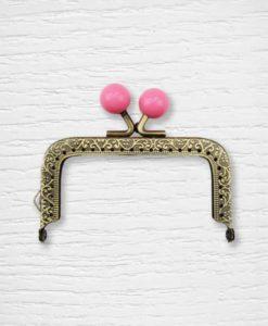 Fermoir cadre porte monnaies 8.5 cm bronze carré billes rose Lidia Crochet Tricot