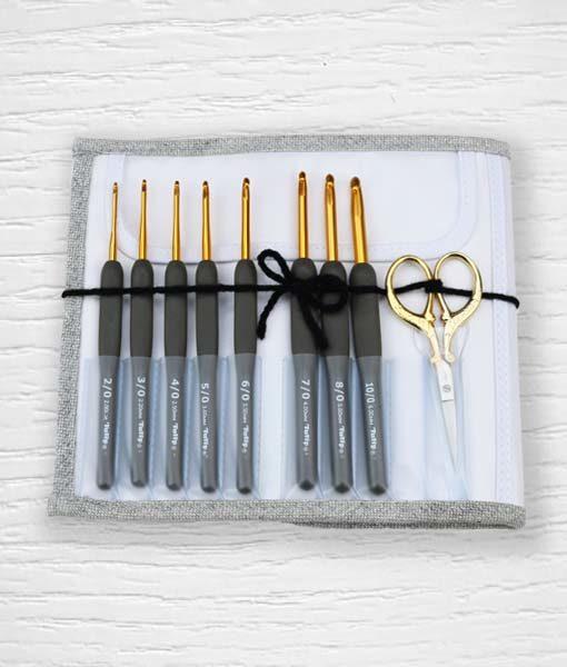 Set crochets ergonomiques Tulip Etimo Premium Gold 2 mm - 6 mm Lidia Crochet Tricot 1