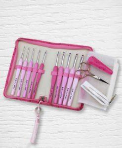 Set crochets ergonomiques Tulip Etimo rose 2 mm - 6 mm Lidia Crochet Tricot 3