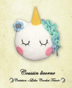 Coussin licorne (tutoriel Lidia Crochet Tricot)
