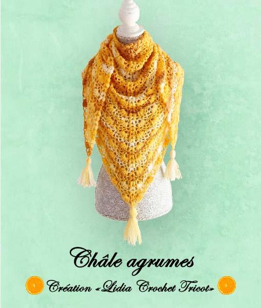 Châle Agrumes (tutoriel Lidia Crochet Tricot)