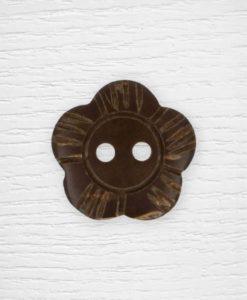 Boutons fleur bois marron foncé Lidia Crochet Tricot