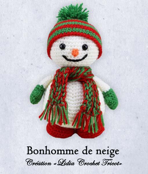Bonhomme de neige (tutoriel Lidia Crochet Tricot)
